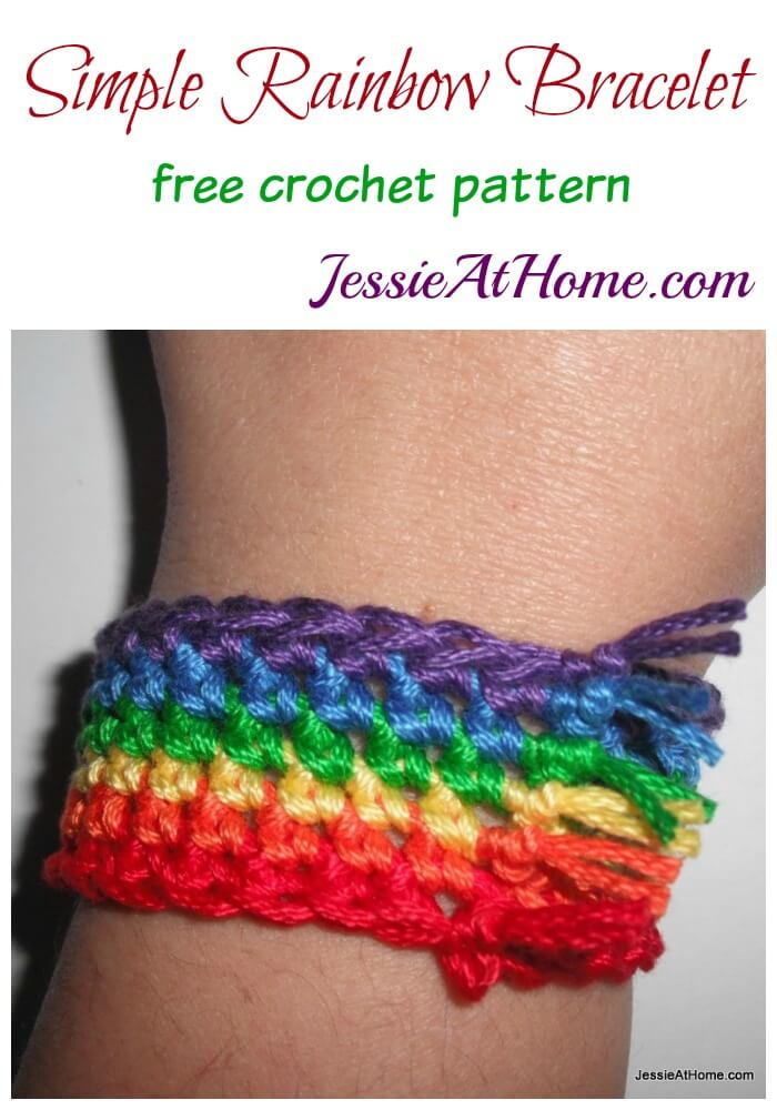 Simple Rainbow Bracelet free crochet pattern by Jessie At Home