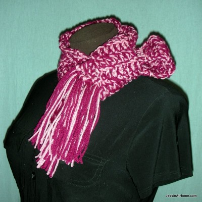 Crocheted Striped Scarf with Railroad Border – Eating