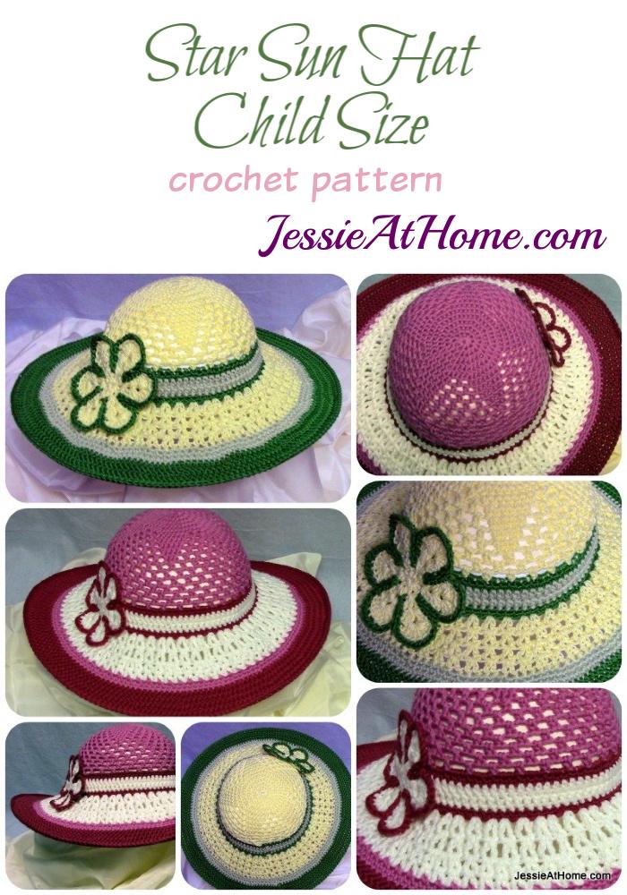 Free-Crochet-Pattern-Be-A-Start-Child's-Sun-Hat - Pin