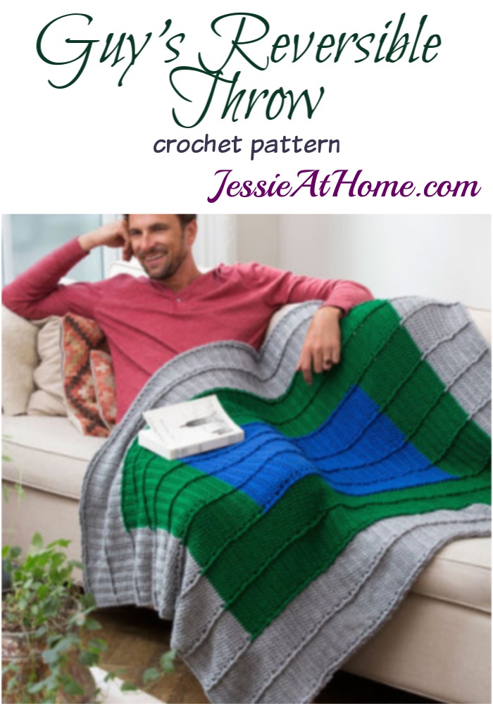 Guy's Reversable Throw crochet patern by Jessie Rayot for Red Heart