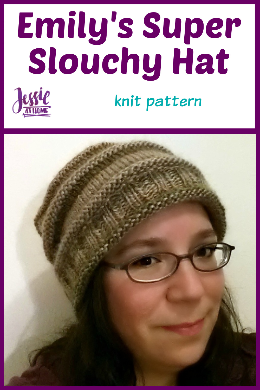 Emily's Super Slouchy Knit Hat - knit pattern by Jessie At Home - Pin 1