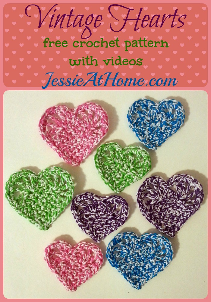 Vintage Hearts ~ Free crochet pattern in two sizes by Jessie At Home