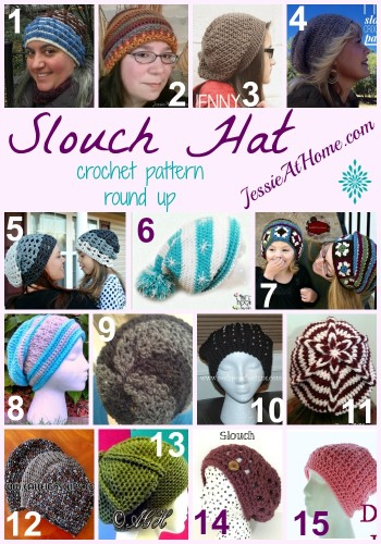Slouch Hat Crochet Pattern Round Up from Jessie At Home