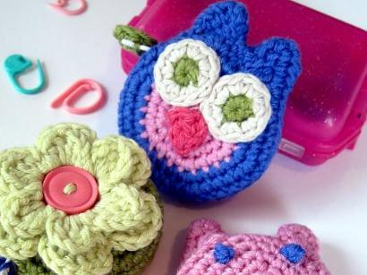 Covered Tape Measures: Owl, Pig & Flower Kit #CrochetKit from @beCraftsy