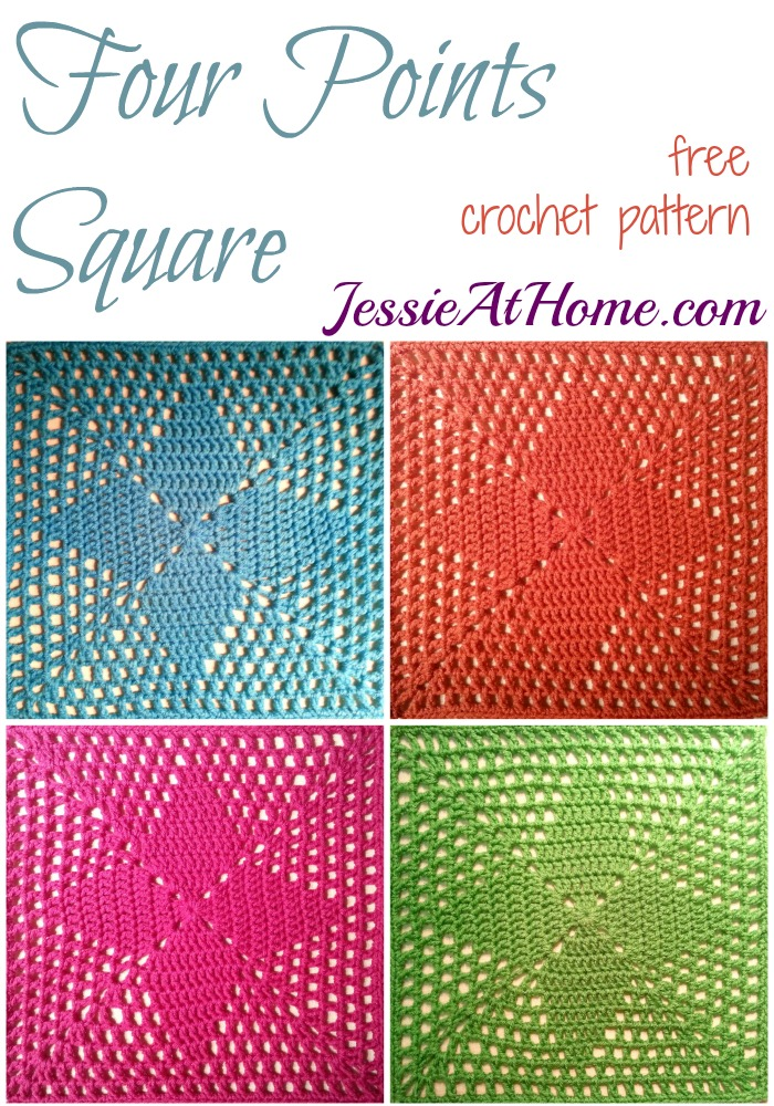 150430 Four Points Square ~ free crochet pattern by Jessie At Home