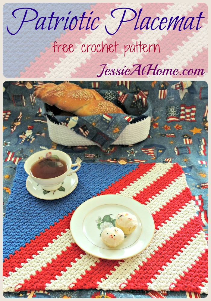 Patriotic Placemat - free crochet pattern from Jessie At Home