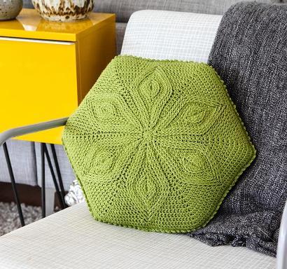 Hexagon Flower Pillow #CrochetKit from @beCraftsy