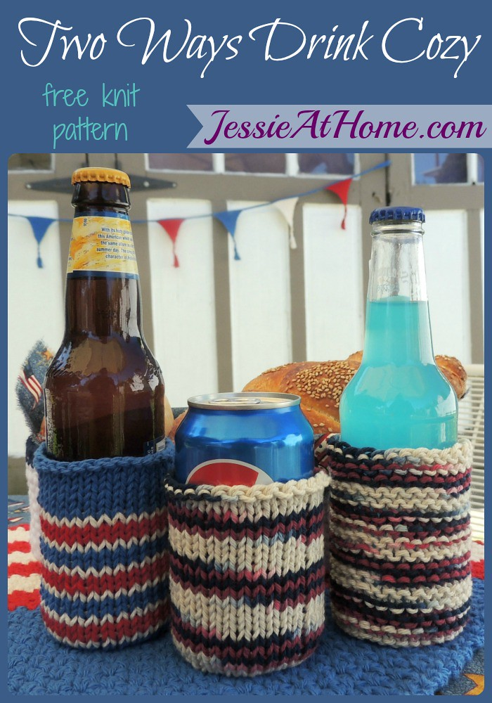 Two Ways Drink Cozy ~ Free Knit Pattern by Jessie At Home