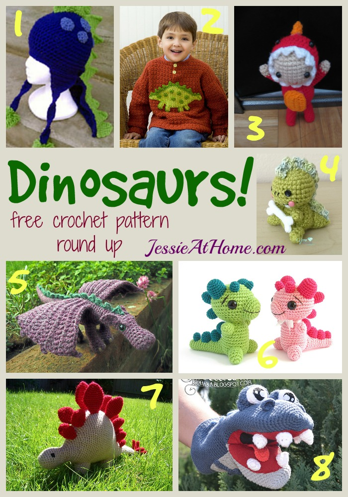 Dinosaurs ~ free crochet pattern round up from Jessie At Home