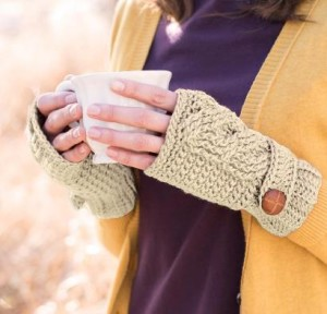 Twisted Cable Fingerless Mitts Craftsy Crochet Kit