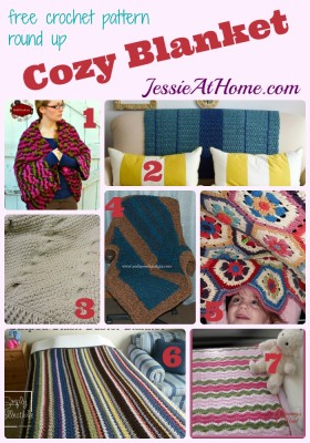 Cozy Blanket free crochet pattern round up from Jessie At Home