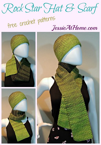Rock Star Hat & Scarf crochet pattern by Jessie At Home