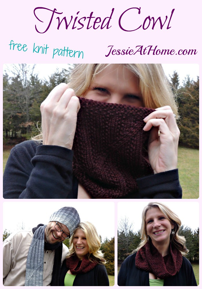 Twisted Cowl free knit pattern by Jessie At Home