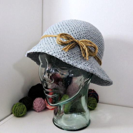 side view of a crochet denim-look hat