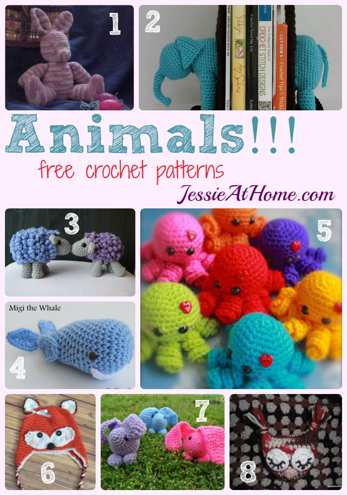 Animals free crochet pattern round up from Jessie At Home