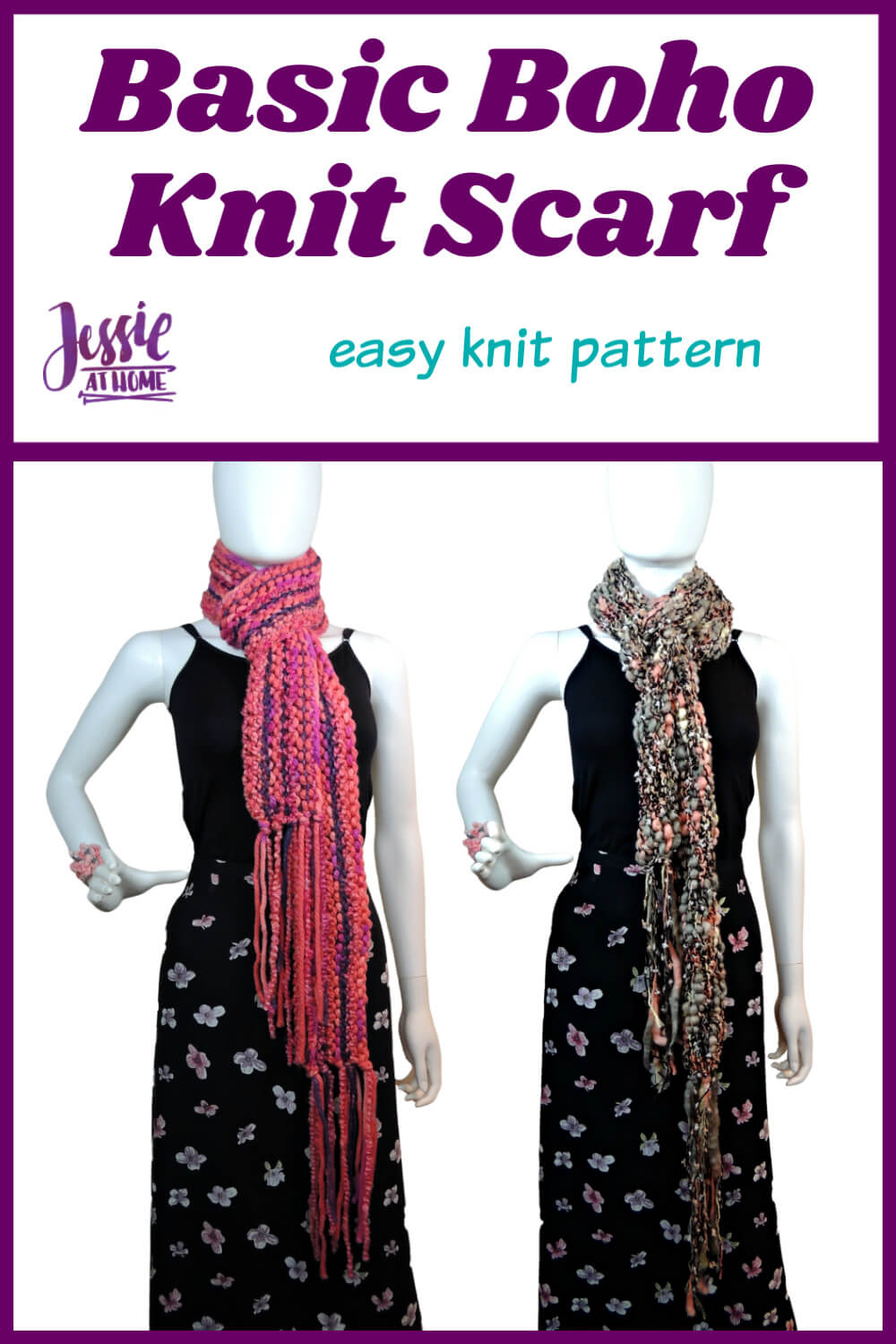 Basic Boho Knit Scarf knit pattern by Jessie At Home - Pin 1