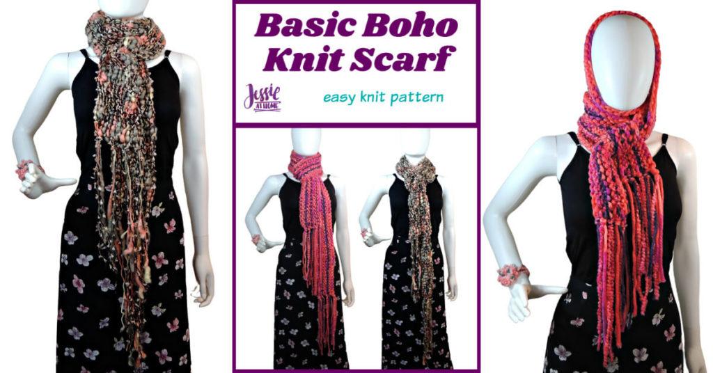 Basic Boho Knit Scarf knit pattern by Jessie At Home - Social