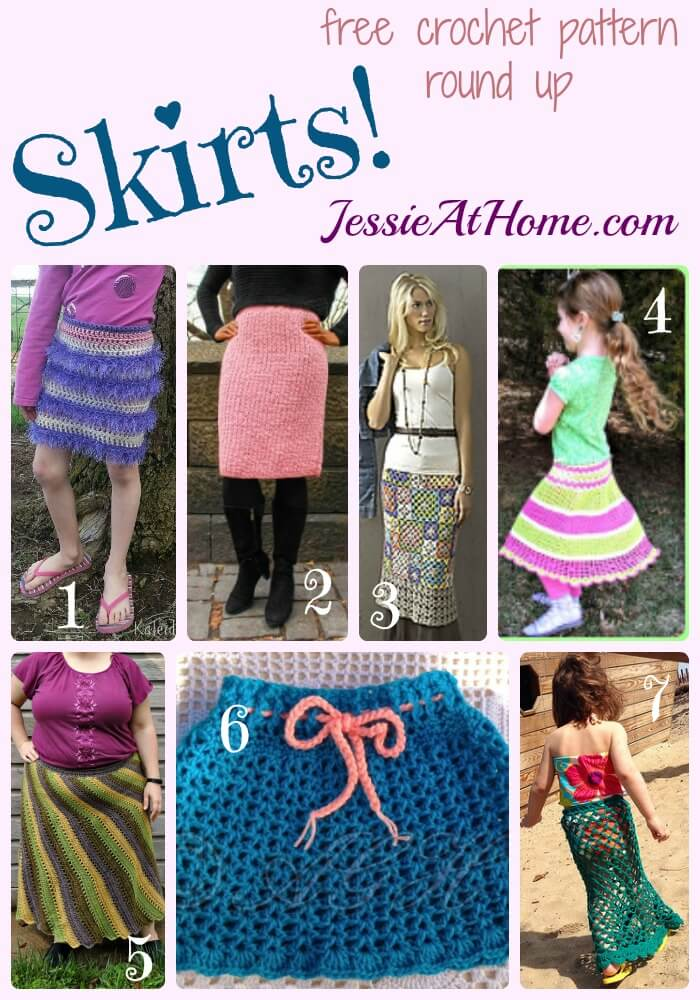 Skirts - free crochet pattern round up from Jessie At home