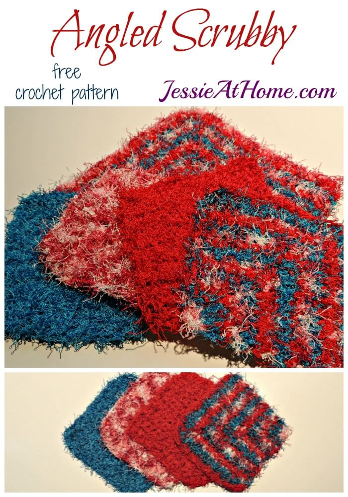 Angled Scrubby washcloth in 2 sizes - free crochet pattern by Jessie At Home