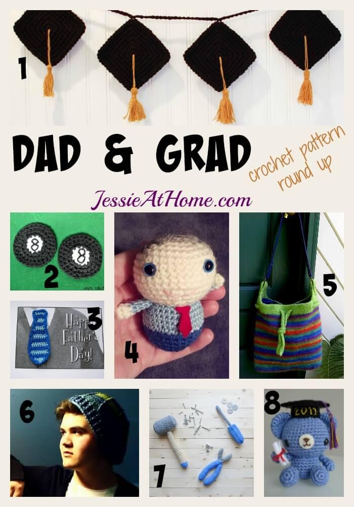 Dad & Grad free crochet pattern round up by Jessie At Home