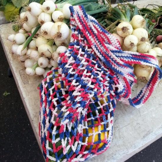 Farmers Market Hexagon Bag AKA The Grand Old Flag Bag