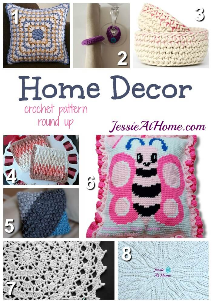 Home Decor - free crochet pattern round up from Jessie At Home