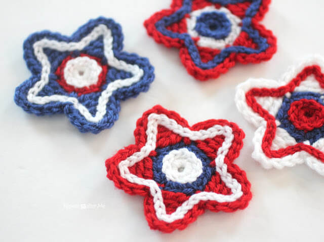 Patriotic Crochet Stars by Repeat Crafter Me