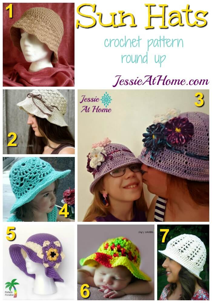 Sun Hats - free crochet pattern round up from Jessie At Home