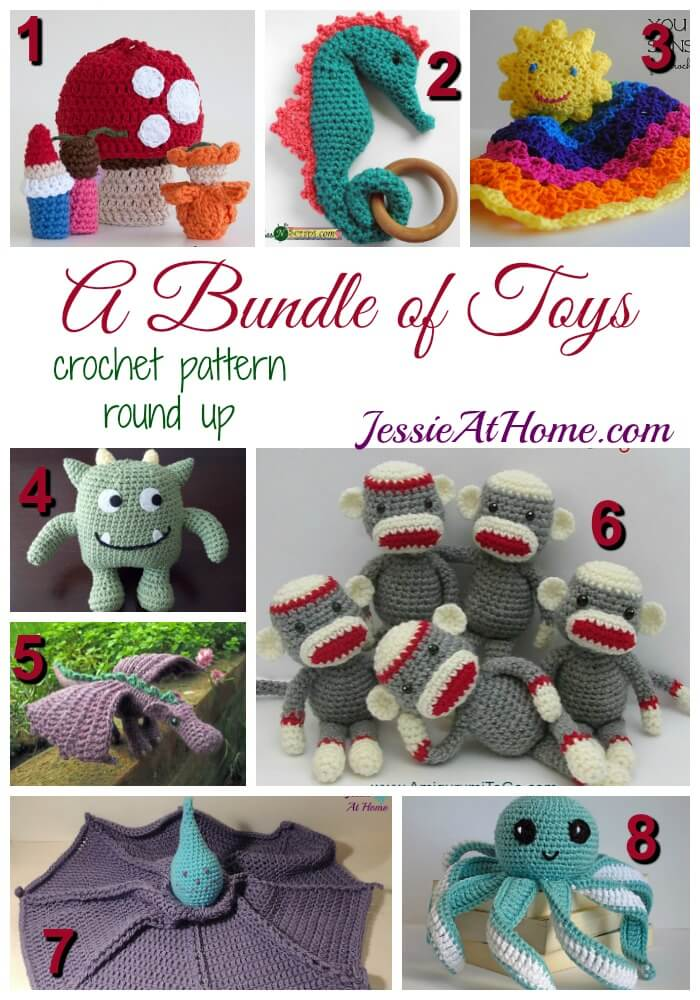 A Bundle of Toys - free crochet pattern round up from Jessie At Home