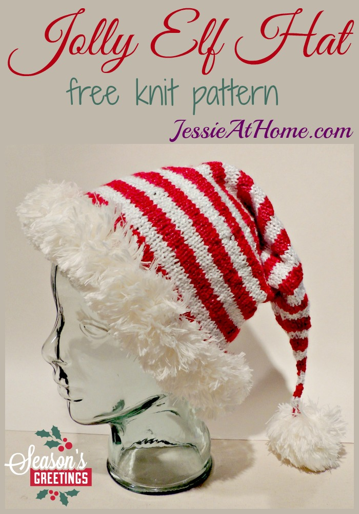 Jolly Elf Hat - free knit pattern from Jessie At Home