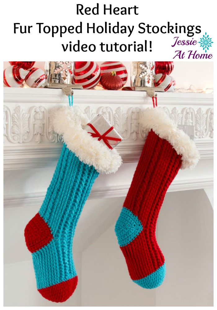 Red Heart Fur Topped Holiday Stockings video tutorial from Jessie At Home