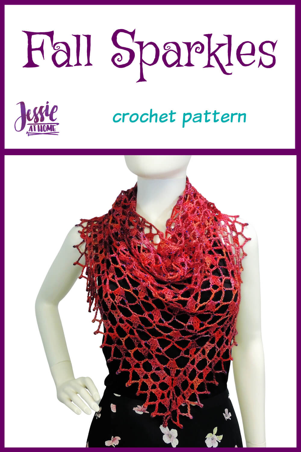 Fall Sparkles Shawl crochet pattern by Jessie At Home - Pin 1