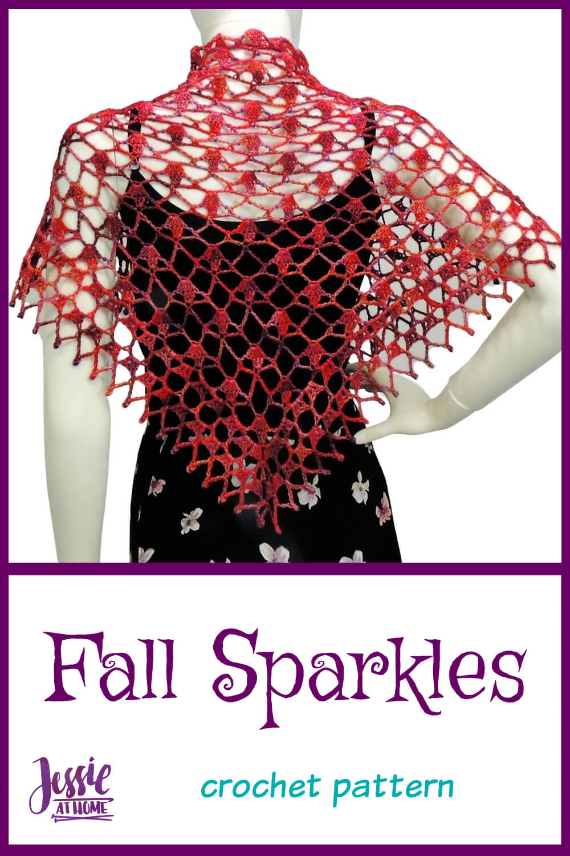 Fall Sparkles Shawl - beaded crochet shawl pattern
