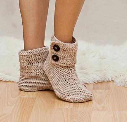 Ladies Button Ankle Boot by Mon Petit Violon Crochet Slippers Kit