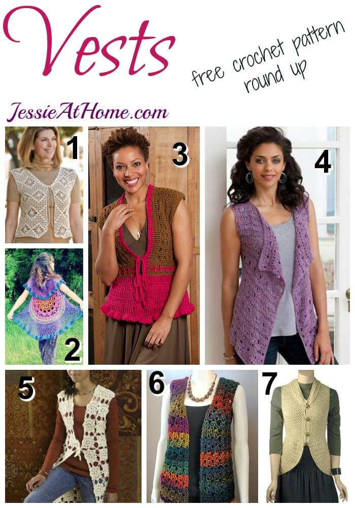 Vests - free crochet pattern round up from Jessie At Home