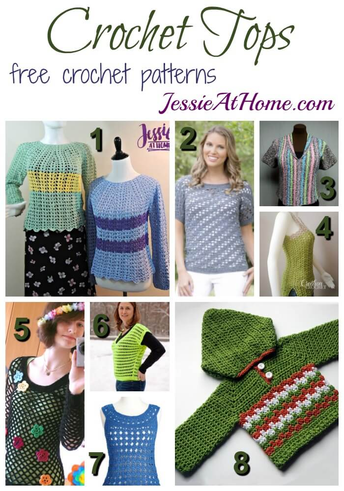 Crochet Tops - free crochet pattern round up from Jessie At Home