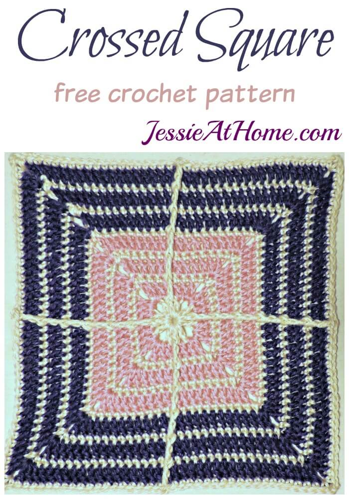 Crossed Square free crochet pattern by Jessie At Home