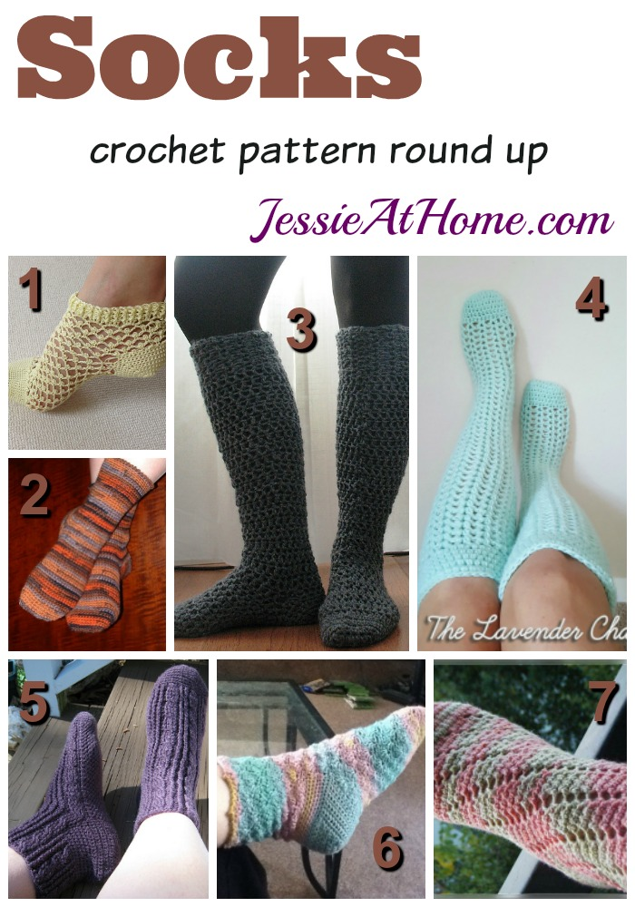 Socks - free crochet pattern round up