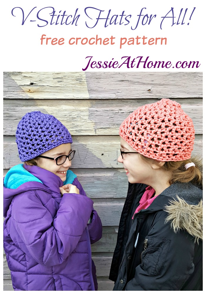 V-Stitch Hats free crochet pattern by Jessie At Home