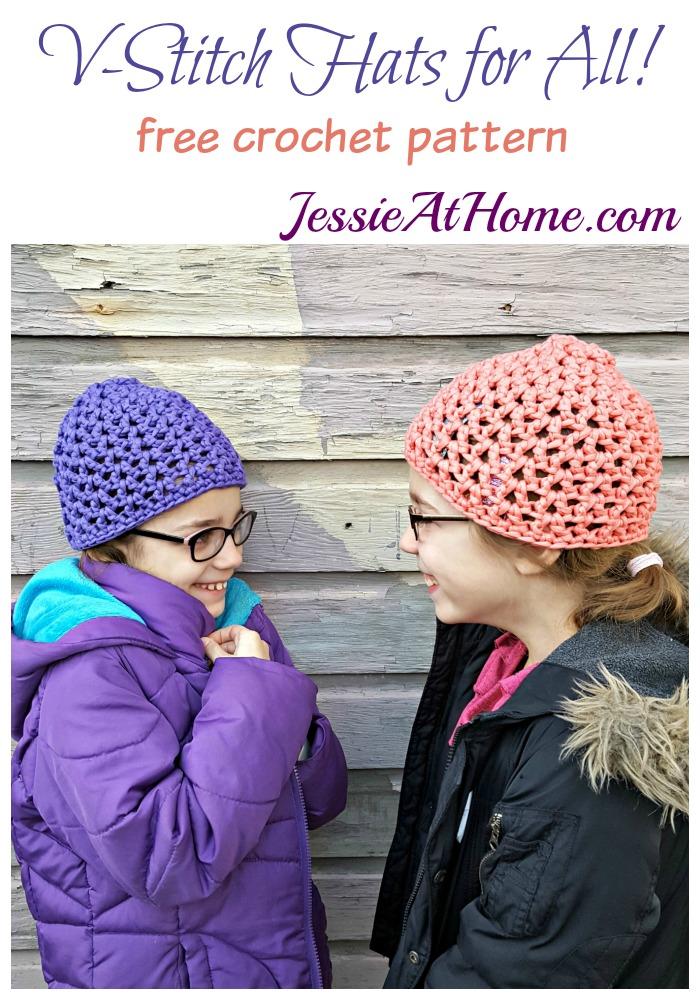V-Stitch Hats free crochet pattern by Jessie At Home