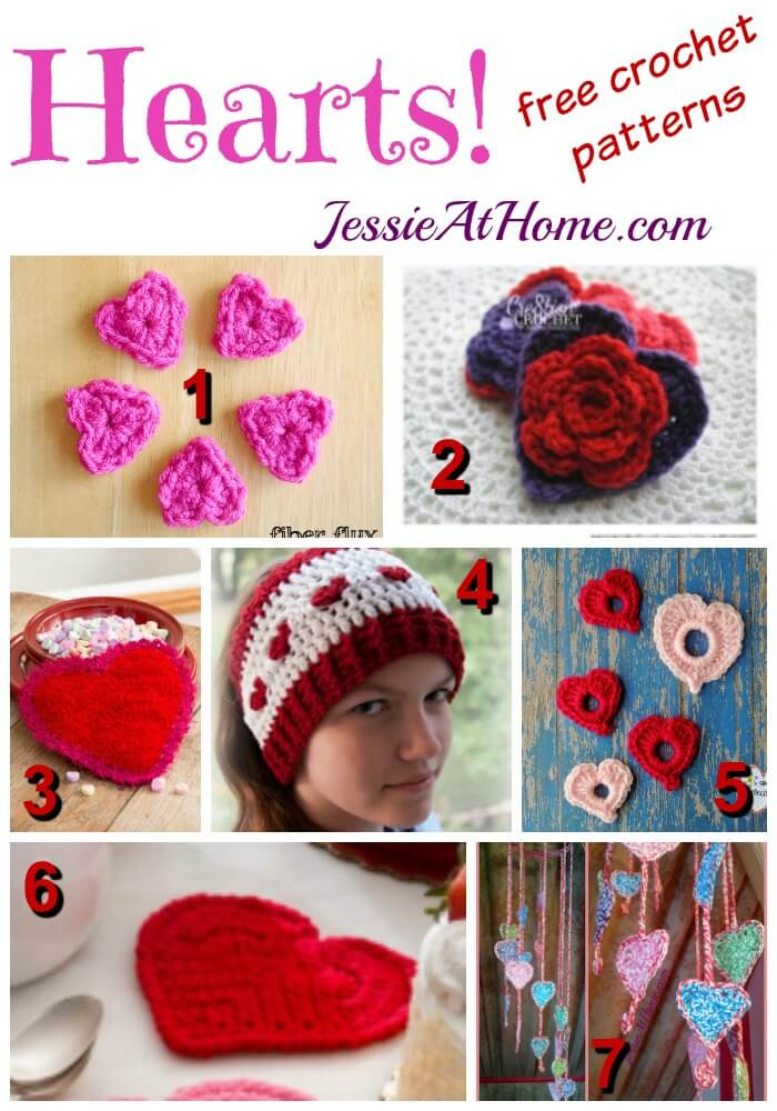 Hearts - free crochet pattern round up from Jessie At Home