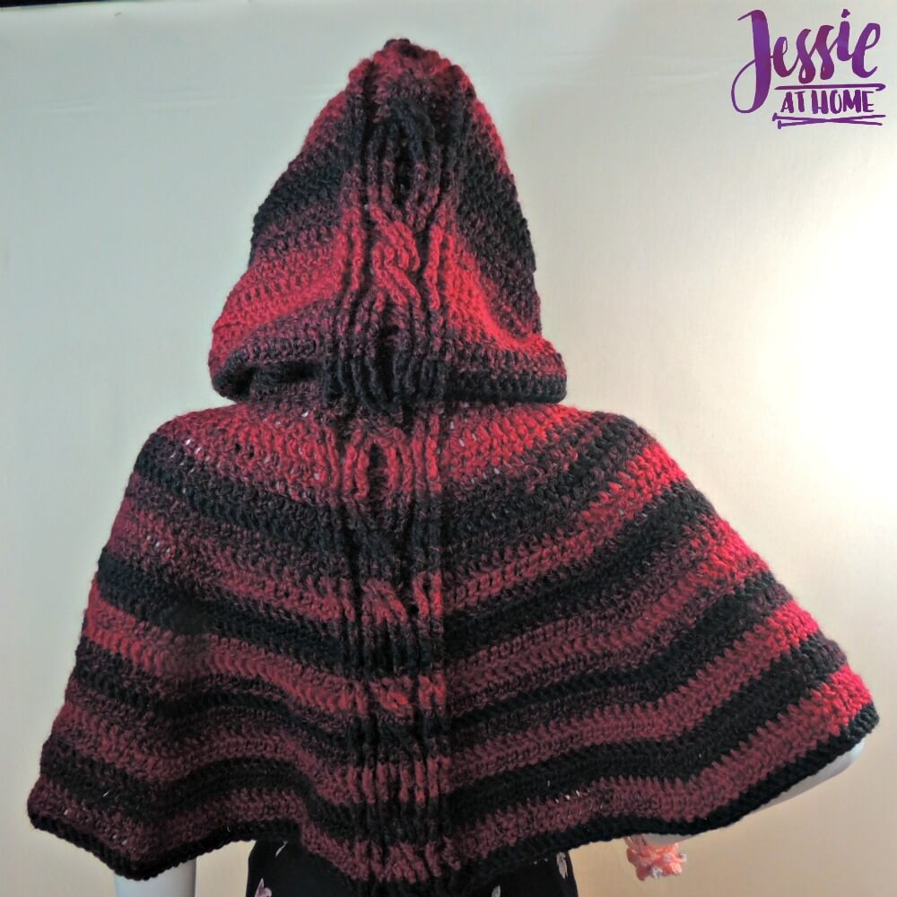Free Knitting Pattern Hooded Sweatshirt : Hooded Cabled Cape Jessie At Home