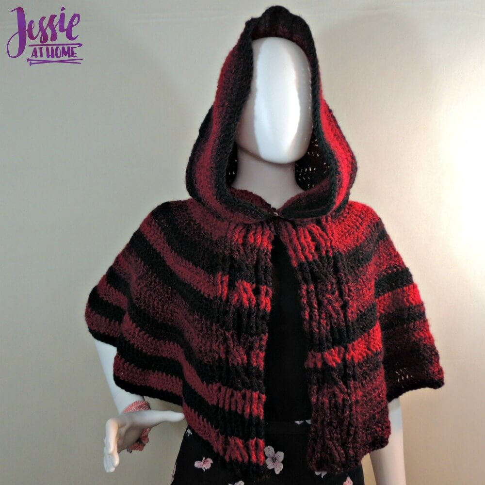 Hooded Cabled Cape free crochet pattern by Jessie At Home - 2