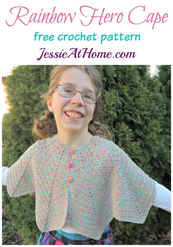 Rainbow Hero Cape free crochet pattern by Jessie At Home