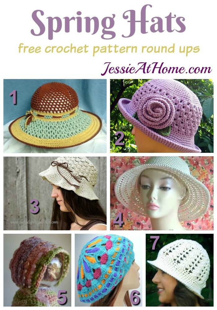 Spring Hats free crochet pattern round up from Jessie At Home
