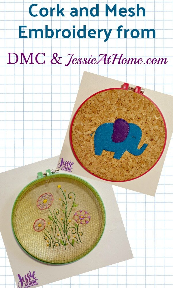 Cork and Mesh Embroidery from DMC and Jessie At Home
