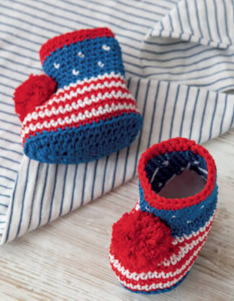 20 Crochet Baby Shoes - Red White and Blue