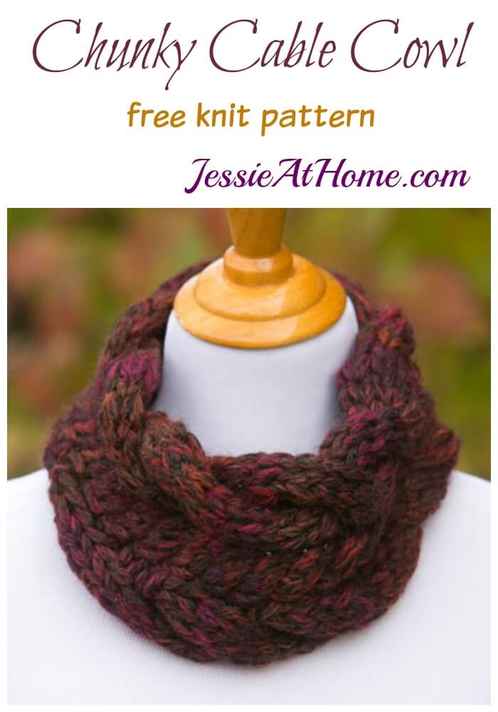 Cunky Cable Cowl free knit pattern by Jessie At Home