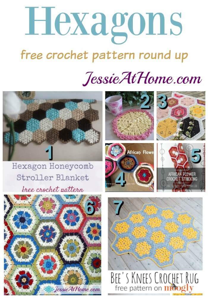 Hexagons free crochet pattern round up from Jessie At Home
