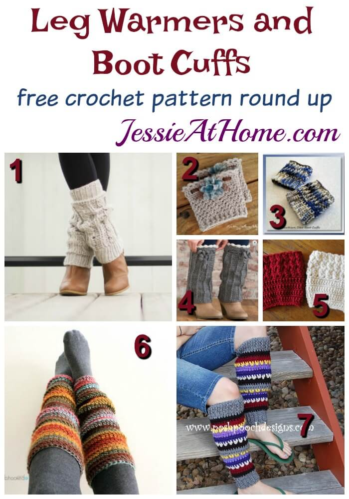 Leg Warmers and Boot Cuffs free crochet pattern round up from Jessie At Home